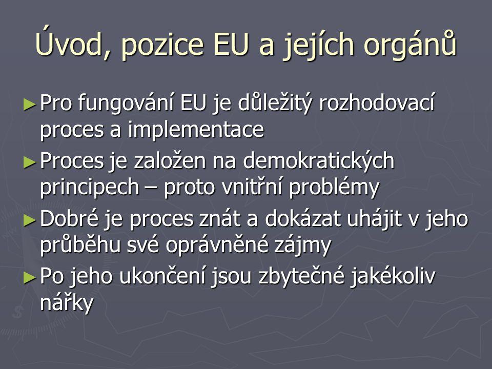 Úvod, pozice EU a jejích orgánů ► Pro fungování EU je důležitý rozhodovací proces a implementace ► Proces je založen na demokratických principech – proto vnitřní problémy ► Dobré je proces znát a dokázat uhájit v jeho průběhu své oprávněné zájmy ► Po jeho ukončení jsou zbytečné jakékoliv nářky