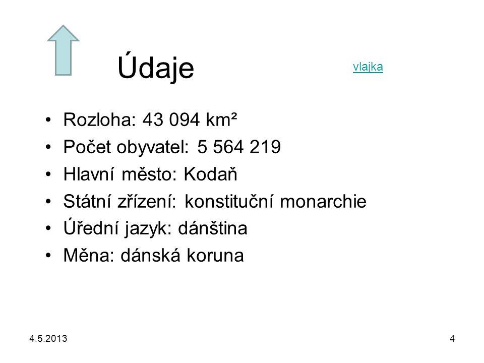 4.5.20134 Údaje Rozloha: 43 094 km² Počet obyvatel: 5 564 219 Hlavní město: Kodaň Státní zřízení: konstituční monarchie Úřední jazyk: dánština Měna: d