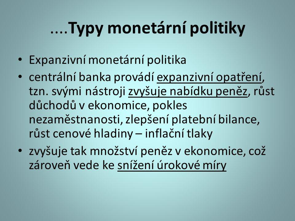 ....Typy monetární politiky Expanzivní monetární politika centrální banka provádí expanzivní opatření, tzn. svými nástroji zvyšuje nabídku peněz, růst