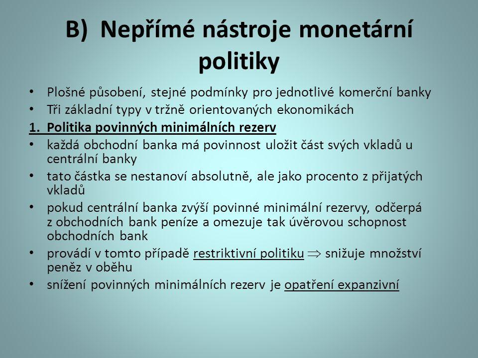 B) Nepřímé nástroje monetární politiky Plošné působení, stejné podmínky pro jednotlivé komerční banky Tři základní typy v tržně orientovaných ekonomik