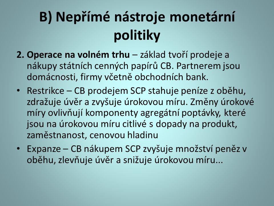 B) Nepřímé nástroje monetární politiky 2. Operace na volném trhu – základ tvoří prodeje a nákupy státních cenných papírů CB. Partnerem jsou domácnosti