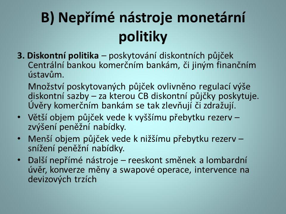 B) Nepřímé nástroje monetární politiky 3. Diskontní politika – poskytování diskontních půjček Centrální bankou komerčním bankám, či jiným finančním ús