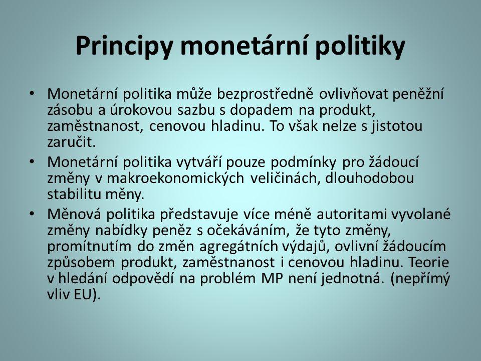 Principy monetární politiky Monetární politika může bezprostředně ovlivňovat peněžní zásobu a úrokovou sazbu s dopadem na produkt, zaměstnanost, cenov