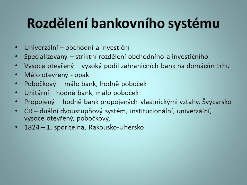 Rozdělení bankovního systému Univerzální – obchodní a investiční Specializovaný – striktní rozdělení obchodního a investičního Vysoce otevřený – vysok