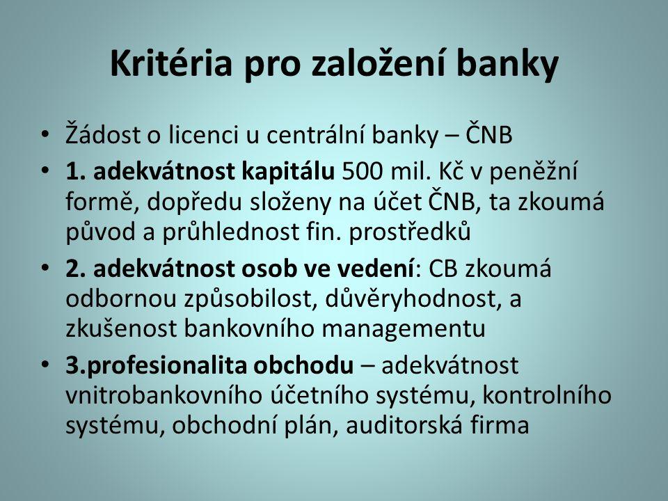 Kritéria pro založení banky Žádost o licenci u centrální banky – ČNB 1. adekvátnost kapitálu 500 mil. Kč v peněžní formě, dopředu složeny na účet ČNB,