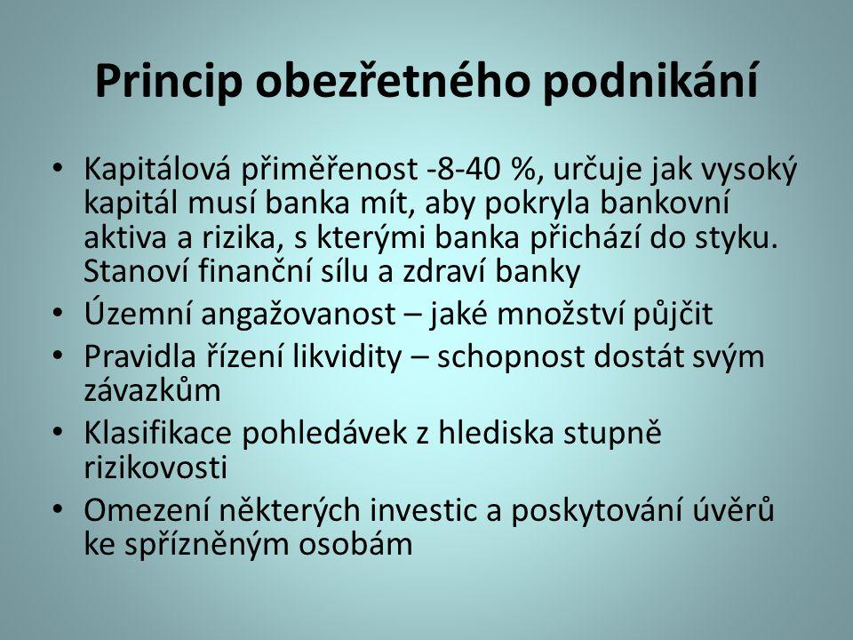 Princip obezřetného podnikání Kapitálová přiměřenost -8-40 %, určuje jak vysoký kapitál musí banka mít, aby pokryla bankovní aktiva a rizika, s kterým