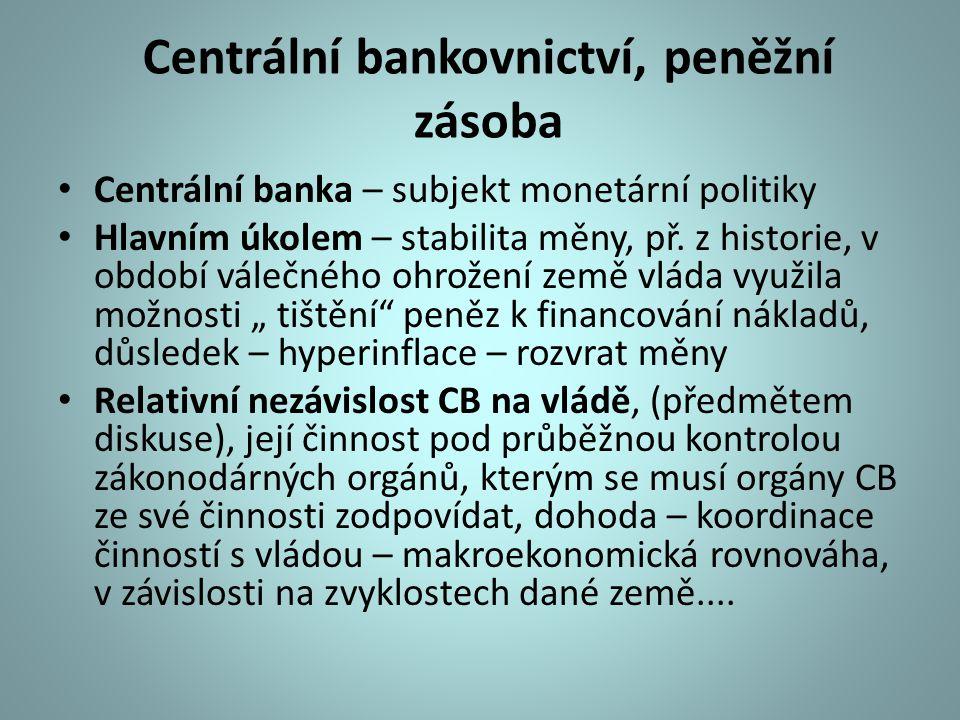 Pravomoci CB Hlavní úkol – stabilita měny, tvorba peněžní zásoby, monetární báze Jmenování vedoucích představitelů CB Právo emitovat mince, bankovky Fce bankovního dohledu nad finančním trhem Jiné