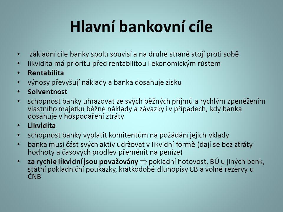 Hlavní bankovní cíle základní cíle banky spolu souvisí a na druhé straně stojí proti sobě likvidita má prioritu před rentabilitou i ekonomickým růstem