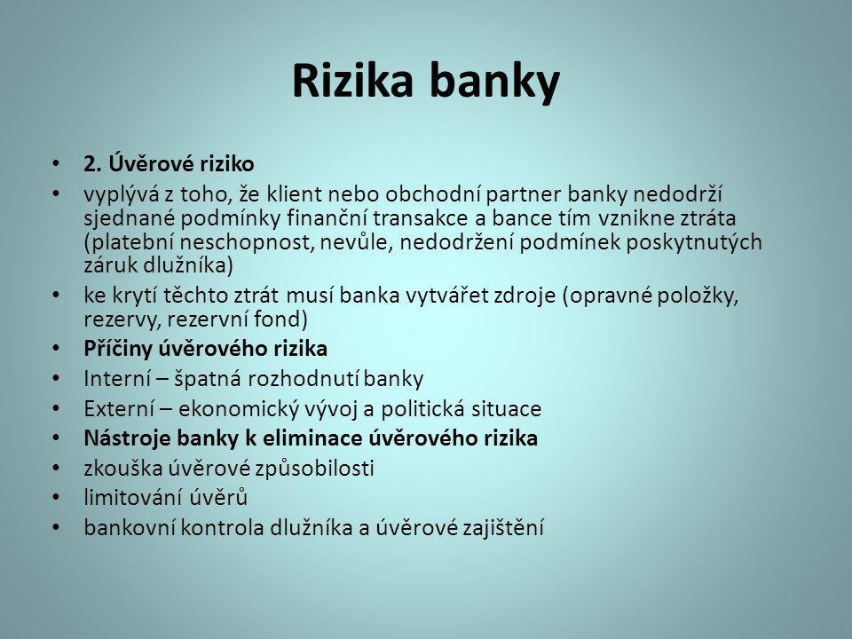 Rizika banky 2. Úvěrové riziko vyplývá z toho, že klient nebo obchodní partner banky nedodrží sjednané podmínky finanční transakce a bance tím vznikne