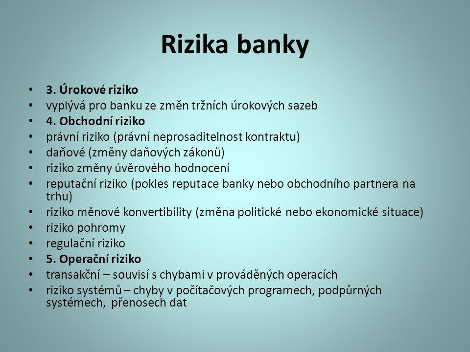 Rizika banky 3. Úrokové riziko vyplývá pro banku ze změn tržních úrokových sazeb 4. Obchodní riziko právní riziko (právní neprosaditelnost kontraktu)