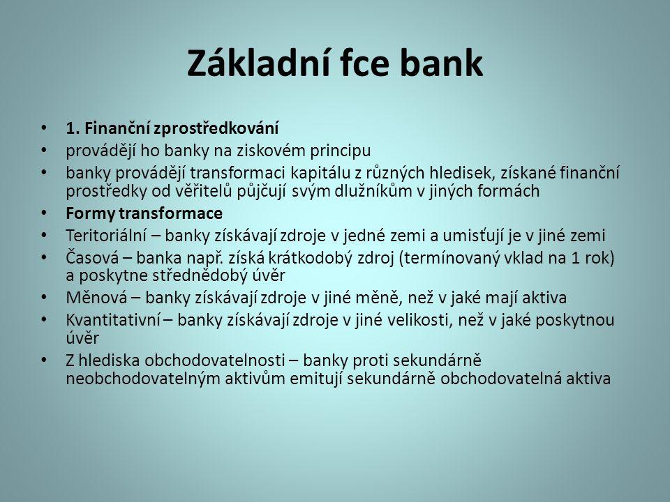 Základní fce bank 1. Finanční zprostředkování provádějí ho banky na ziskovém principu banky provádějí transformaci kapitálu z různých hledisek, získan