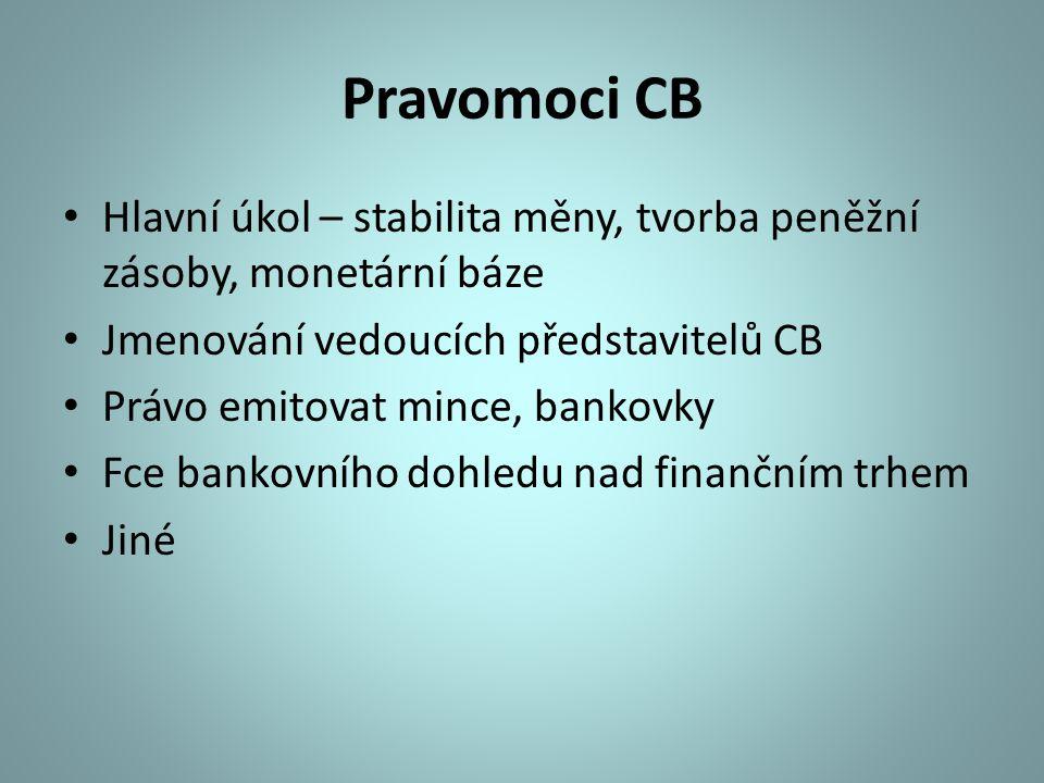 Pravomoci CB Hlavní úkol – stabilita měny, tvorba peněžní zásoby, monetární báze Jmenování vedoucích představitelů CB Právo emitovat mince, bankovky F