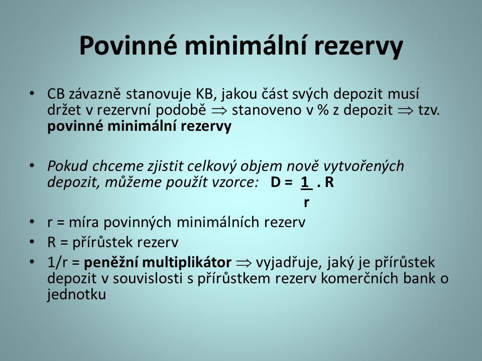 Povinné minimální rezervy CB závazně stanovuje KB, jakou část svých depozit musí držet v rezervní podobě  stanoveno v % z depozit  tzv. povinné mini