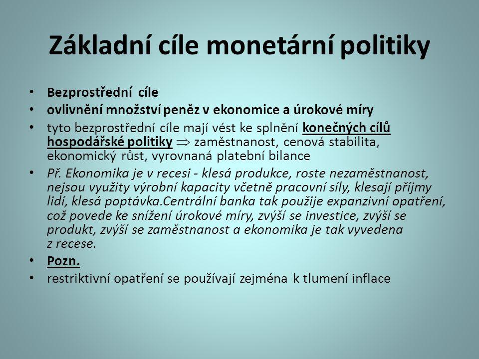 Konečné cíle monetární politiky Konečné cíle - dopady monetární politiky Vliv na příznivý vývoj základních makroekonomických veličin Produkt, důchod, zaměstnanost, cenová hladina, platební bilance