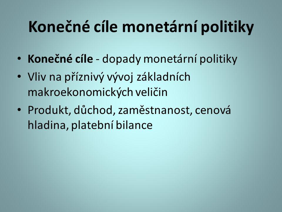 Konečné cíle monetární politiky Konečné cíle - dopady monetární politiky Vliv na příznivý vývoj základních makroekonomických veličin Produkt, důchod,