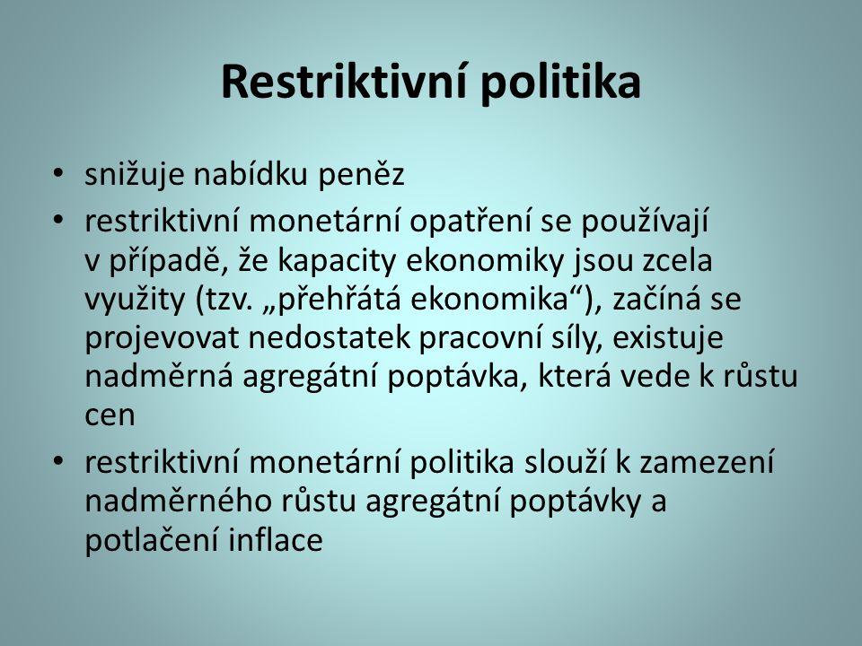 """Restriktivní politika snižuje nabídku peněz restriktivní monetární opatření se používají v případě, že kapacity ekonomiky jsou zcela využity (tzv. """"př"""