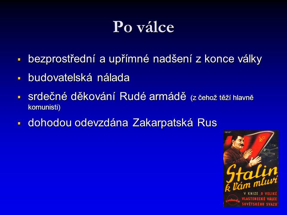 Po válce  bezprostřední a upřímné nadšení z konce války  budovatelská nálada  srdečné děkování Rudé armádě (z čehož těží hlavně komunisti)  dohodou odevzdána Zakarpatská Rus