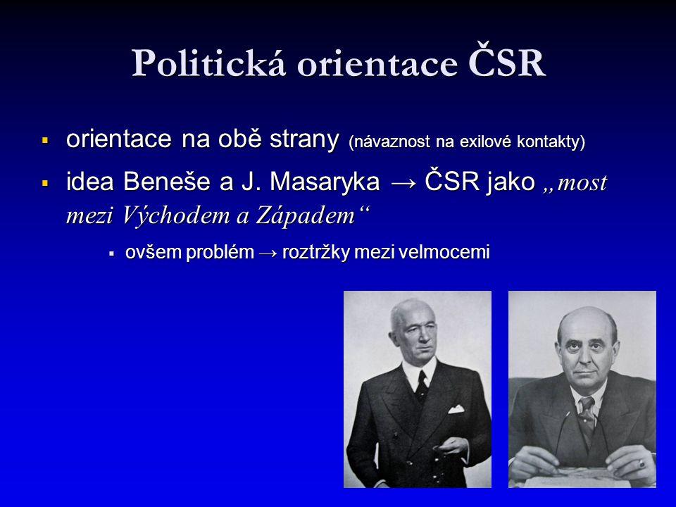 Politická orientace ČSR  orientace na obě strany (návaznost na exilové kontakty)  idea Beneše a J.
