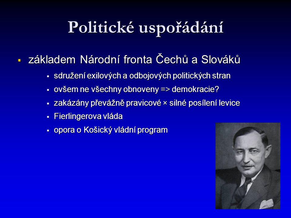 Politické uspořádání  základem Národní fronta Čechů a Slováků  sdružení exilových a odbojových politických stran  ovšem ne všechny obnoveny => demokracie.