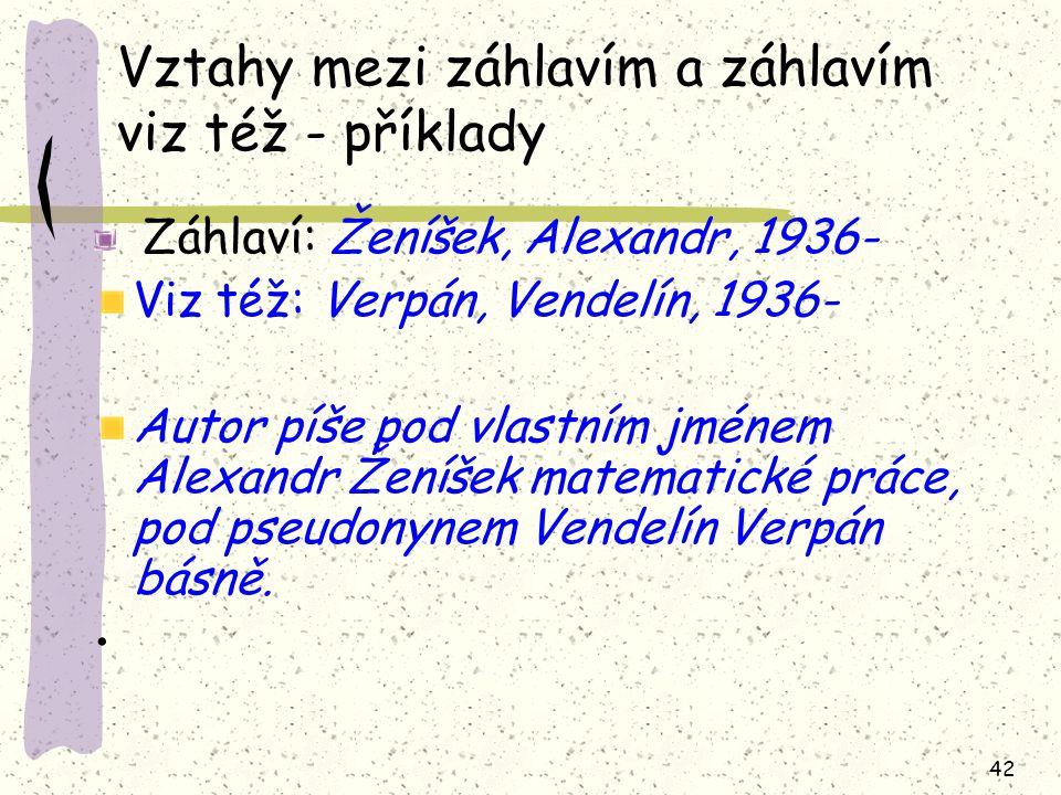 42 Vztahy mezi záhlavím a záhlavím viz též - příklady Záhlaví: Ženíšek, Alexandr, 1936- Viz též: Verpán, Vendelín, 1936- Autor píše pod vlastním jméne