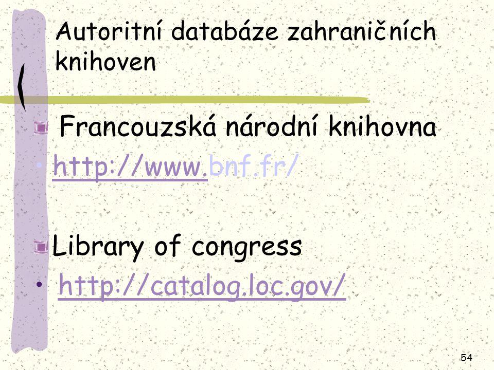 54 Autoritní databáze zahraničních knihoven Francouzská národní knihovna http://www.bnf.fr/http://www. Library of congress http://catalog.loc.gov/