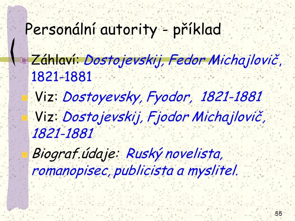 55 Personální autority - příklad Záhlaví: Dostojevskij, Fedor Michajlovič, 1821-1881 Viz: Dostoyevsky, Fyodor, 1821-1881 Viz: Dostojevskij, Fjodor Mic