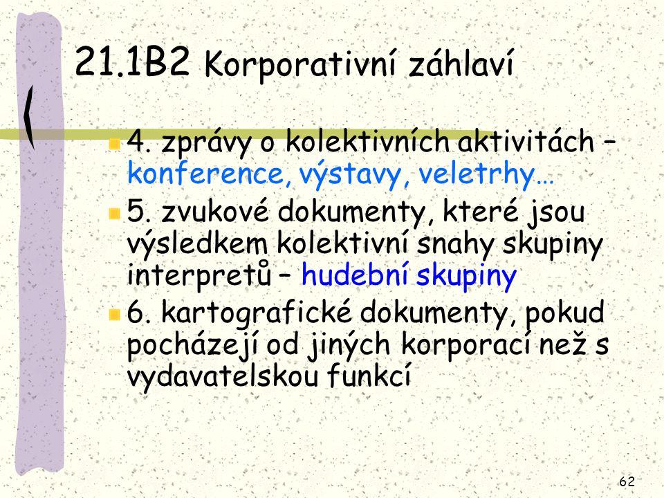 62 21.1B2 Korporativní záhlaví 4. zprávy o kolektivních aktivitách – konference, výstavy, veletrhy… 5. zvukové dokumenty, které jsou výsledkem kolekti