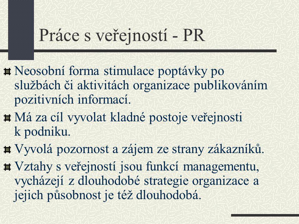Práce s veřejností - PR Neosobní forma stimulace poptávky po službách či aktivitách organizace publikováním pozitivních informací. Má za cíl vyvolat k