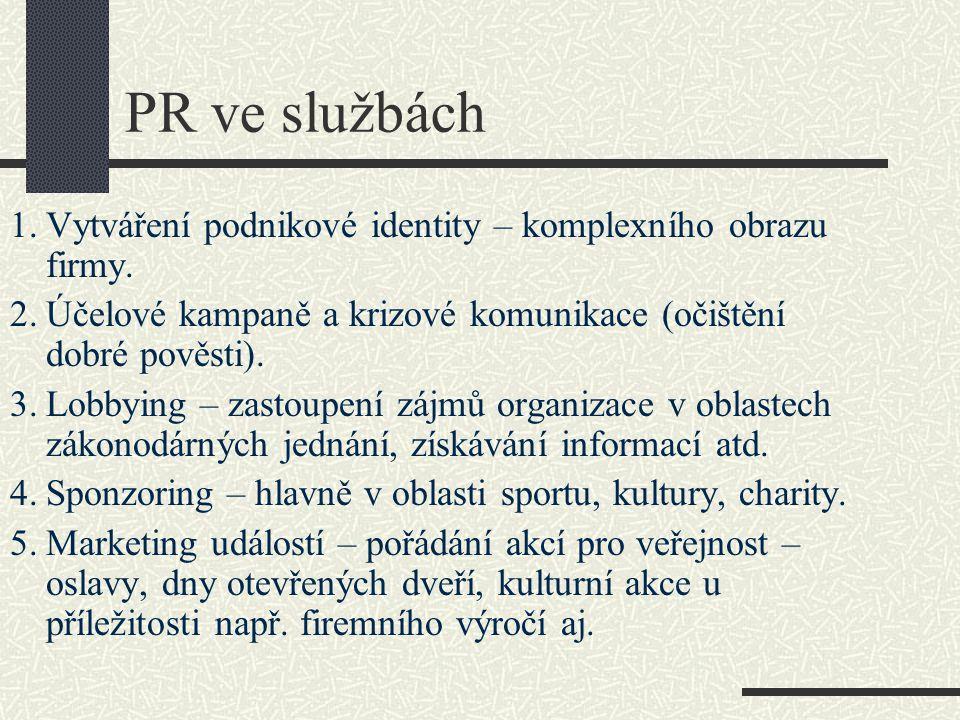 PR ve službách 1.Vytváření podnikové identity – komplexního obrazu firmy. 2.Účelové kampaně a krizové komunikace (očištění dobré pověsti). 3.Lobbying