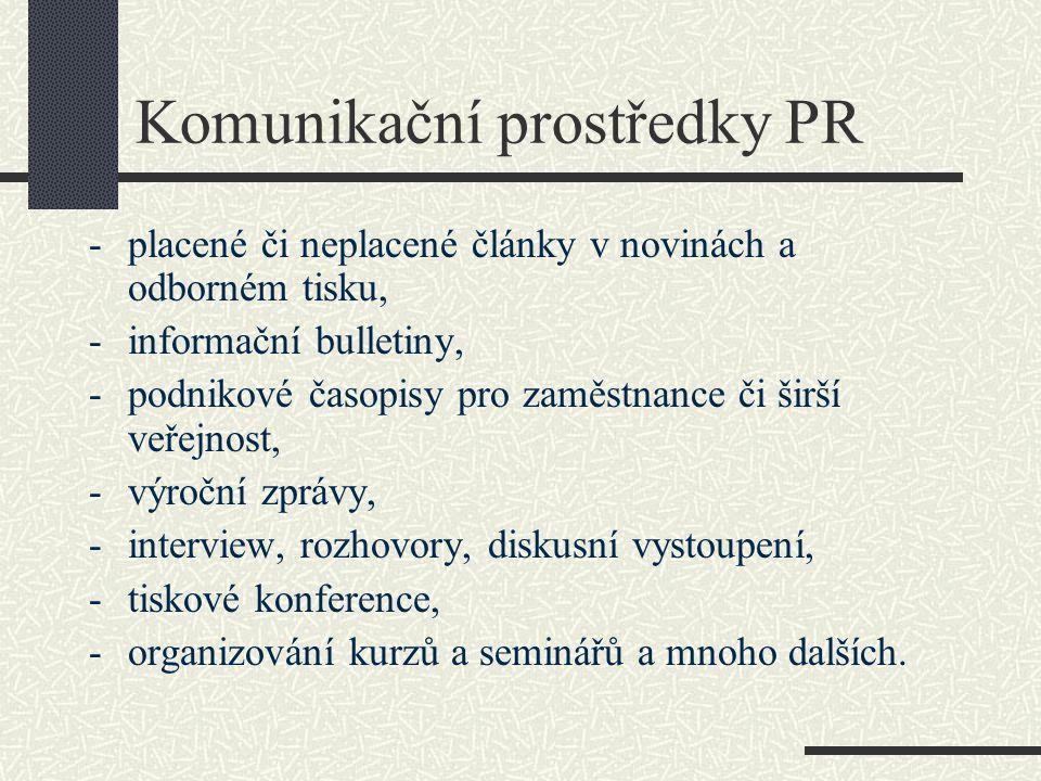 Komunikační prostředky PR -placené či neplacené články v novinách a odborném tisku, -informační bulletiny, -podnikové časopisy pro zaměstnance či širš