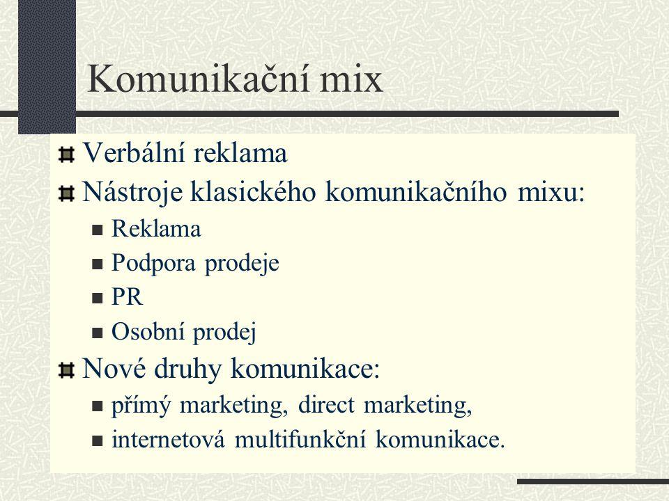 Komunikační mix Verbální reklama Nástroje klasického komunikačního mixu: Reklama Podpora prodeje PR Osobní prodej Nové druhy komunikace: přímý marketi