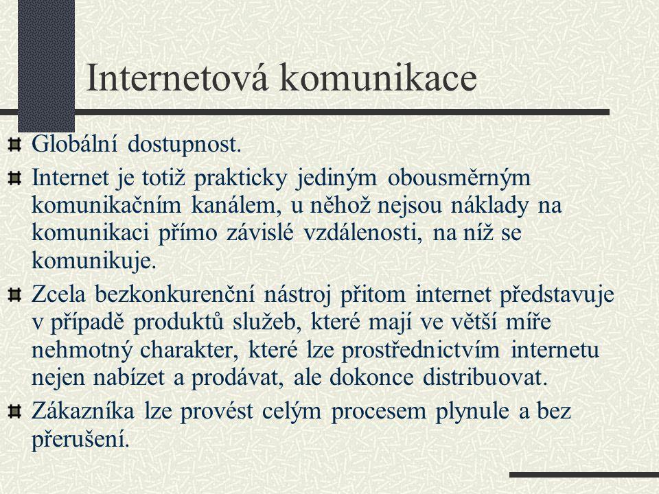 Internetová komunikace Globální dostupnost. Internet je totiž prakticky jediným obousměrným komunikačním kanálem, u něhož nejsou náklady na komunikaci