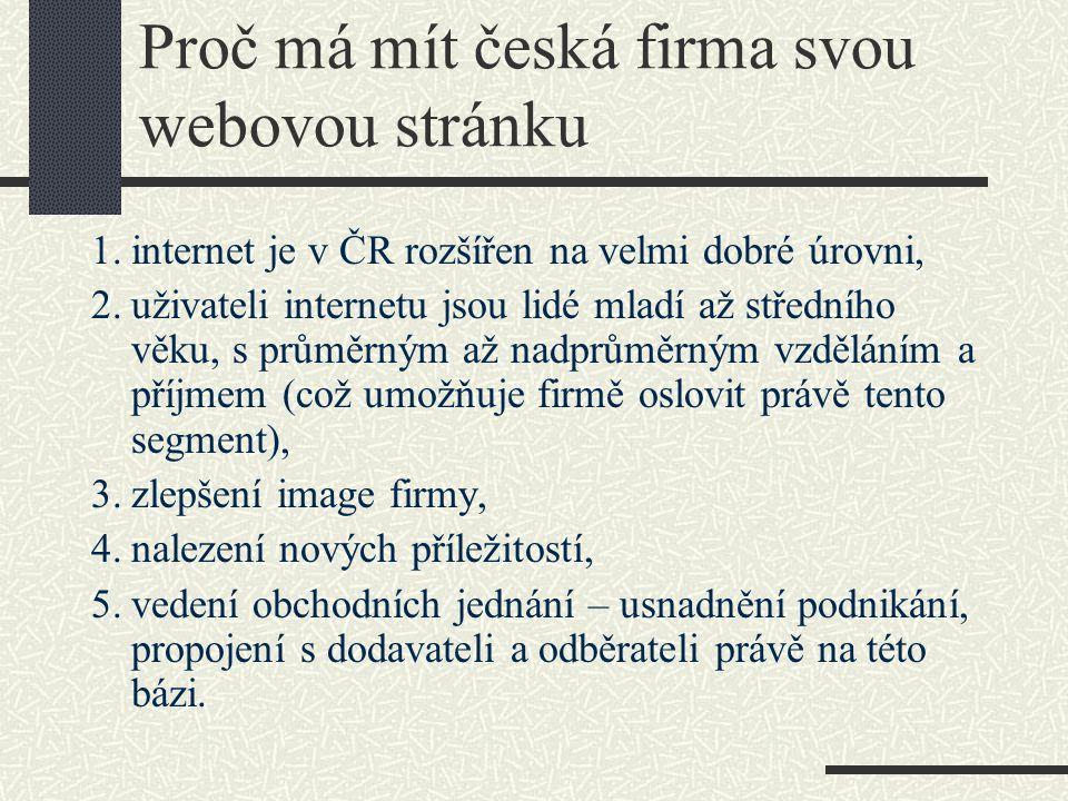 Proč má mít česká firma svou webovou stránku 1.internet je v ČR rozšířen na velmi dobré úrovni, 2.uživateli internetu jsou lidé mladí až středního věk