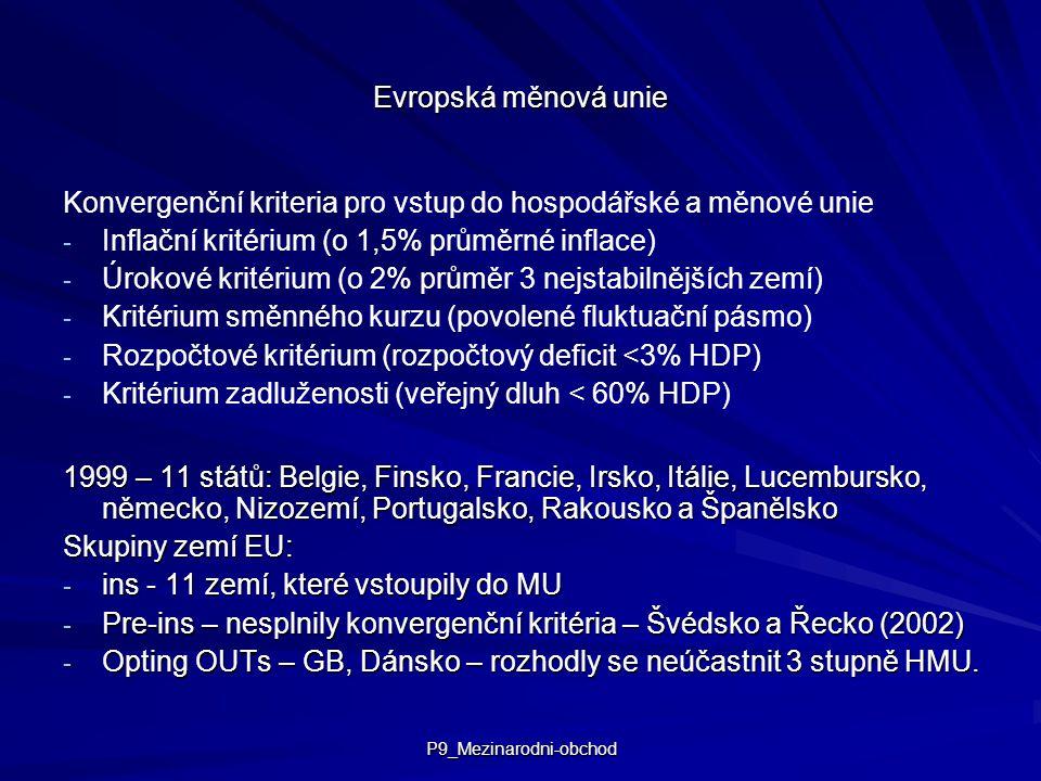 P9_Mezinarodni-obchod Evropská měnová unie Konvergenční kriteria pro vstup do hospodářské a měnové unie - - Inflační kritérium (o 1,5% průměrné inflace) - - Úrokové kritérium (o 2% průměr 3 nejstabilnějších zemí) - - Kritérium směnného kurzu (povolené fluktuační pásmo) - - Rozpočtové kritérium (rozpočtový deficit <3% HDP) - - Kritérium zadluženosti (veřejný dluh < 60% HDP) 1999 – 11 států: Belgie, Finsko, Francie, Irsko, Itálie, Lucembursko, německo, Nizozemí, Portugalsko, Rakousko a Španělsko Skupiny zemí EU: - ins - 11 zemí, které vstoupily do MU - Pre-ins – nesplnily konvergenční kritéria – Švédsko a Řecko (2002) - Opting OUTs – GB, Dánsko – rozhodly se neúčastnit 3 stupně HMU.