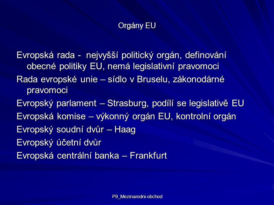 P9_Mezinarodni-obchod Orgány EU Evropská rada - nejvyšší politický orgán, definování obecné politiky EU, nemá legislativní pravomoci Rada evropské unie – sídlo v Bruselu, zákonodárné pravomoci Evropský parlament – Strasburg, podílí se legislativě EU Evropská komise – výkonný orgán EU, kontrolní orgán Evropský soudní dvůr – Haag Evropský účetní dvůr Evropská centrální banka – Frankfurt