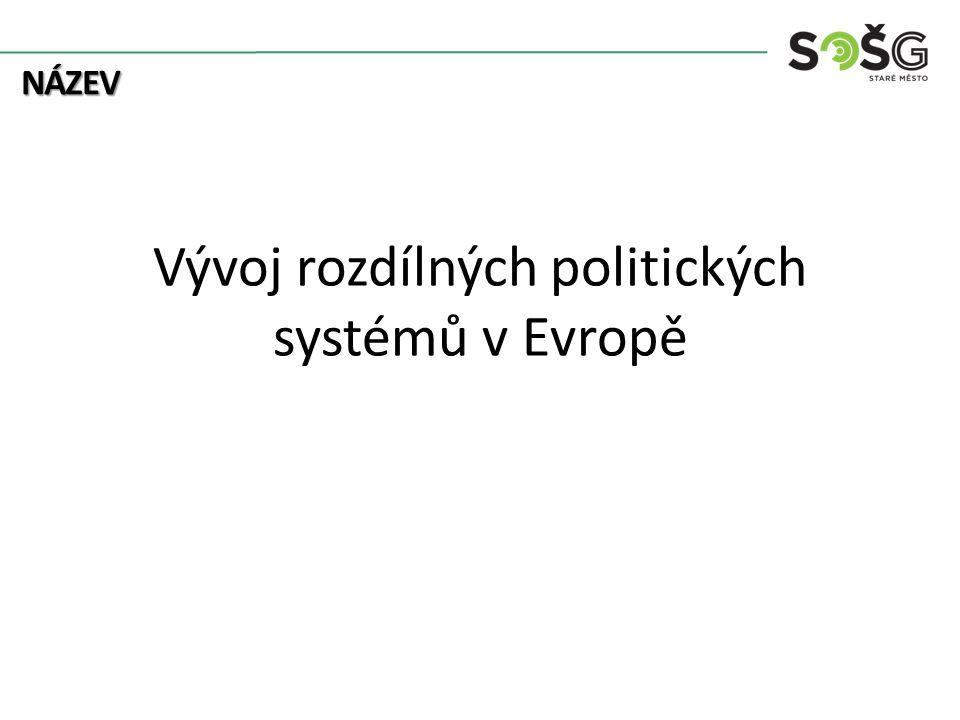 NÁZEV Vývoj rozdílných politických systémů v Evropě
