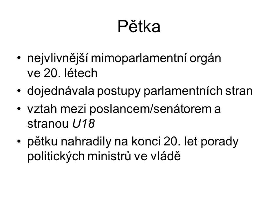 Pětka nejvlivnější mimoparlamentní orgán ve 20. létech dojednávala postupy parlamentních stran vztah mezi poslancem/senátorem a stranou U18 pětku nahr