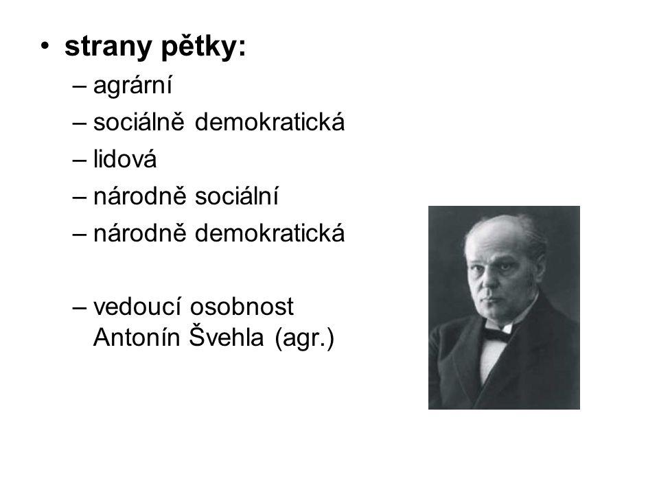 strany pětky: –agrární –sociálně demokratická –lidová –národně sociální –národně demokratická –vedoucí osobnost Antonín Švehla (agr.)