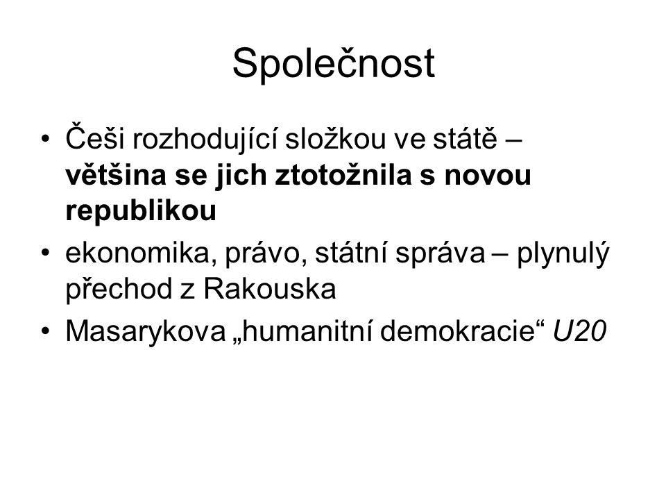 """Společnost Češi rozhodující složkou ve státě – většina se jich ztotožnila s novou republikou ekonomika, právo, státní správa – plynulý přechod z Rakouska Masarykova """"humanitní demokracie U20"""