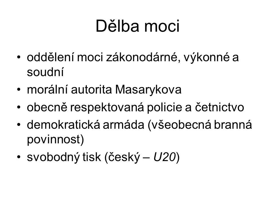 Dělba moci oddělení moci zákonodárné, výkonné a soudní morální autorita Masarykova obecně respektovaná policie a četnictvo demokratická armáda (všeobe