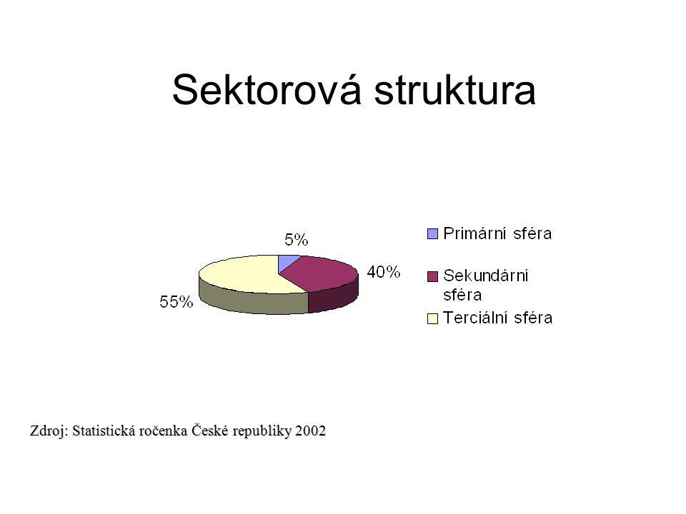 Sektorová struktura Zdroj: Statistická ročenka České republiky 2002