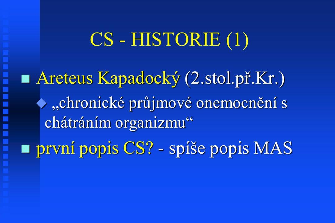 """CS - HISTORIE (1) Areteus Kapadocký (2.stol.př.Kr.) Areteus Kapadocký (2.stol.př.Kr.)  """"chronické průjmové onemocnění s chátráním organizmu"""" první po"""