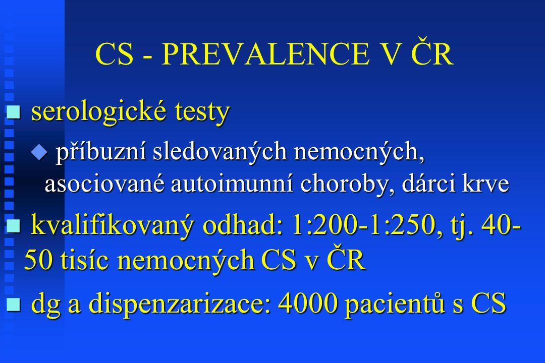 CS - PREVALENCE V ČR serologické testy serologické testy  příbuzní sledovaných nemocných, asociované autoimunní choroby, dárci krve kvalifikovaný odh