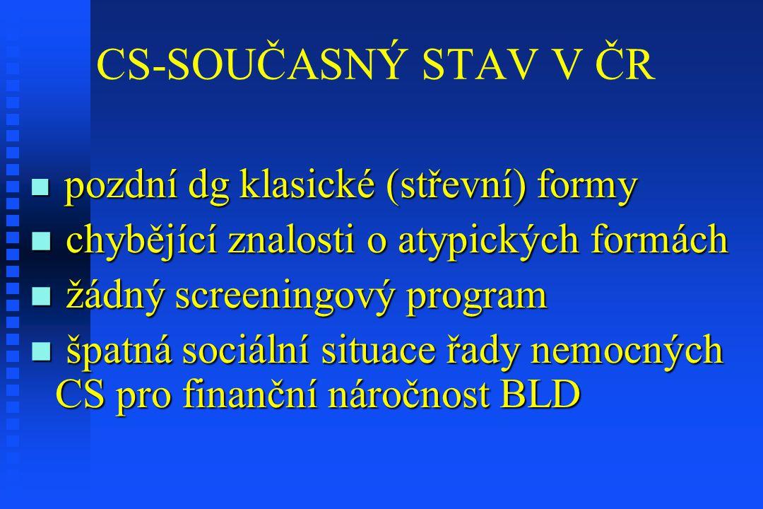 CS-SOUČASNÝ STAV V ČR pozdní dg klasické (střevní) formy pozdní dg klasické (střevní) formy chybějící znalosti o atypických formách chybějící znalosti