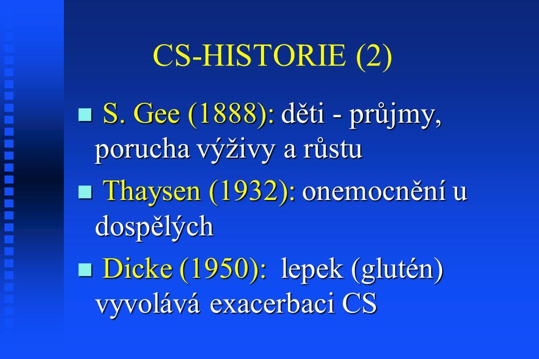 CS-HISTORIE (3) Paulley (1957): histologické změny v resekátech tenkého střeva při CS Paulley (1957): histologické změny v resekátech tenkého střeva při CS Shinerová, Crosby (1957): identické změny v perorálních biopsiích sliznice TS u dětí i dospělých s CS Shinerová, Crosby (1957): identické změny v perorálních biopsiích sliznice TS u dětí i dospělých s CS novinky : molekulární genetika, imunologie a biochemie novinky : molekulární genetika, imunologie a biochemie
