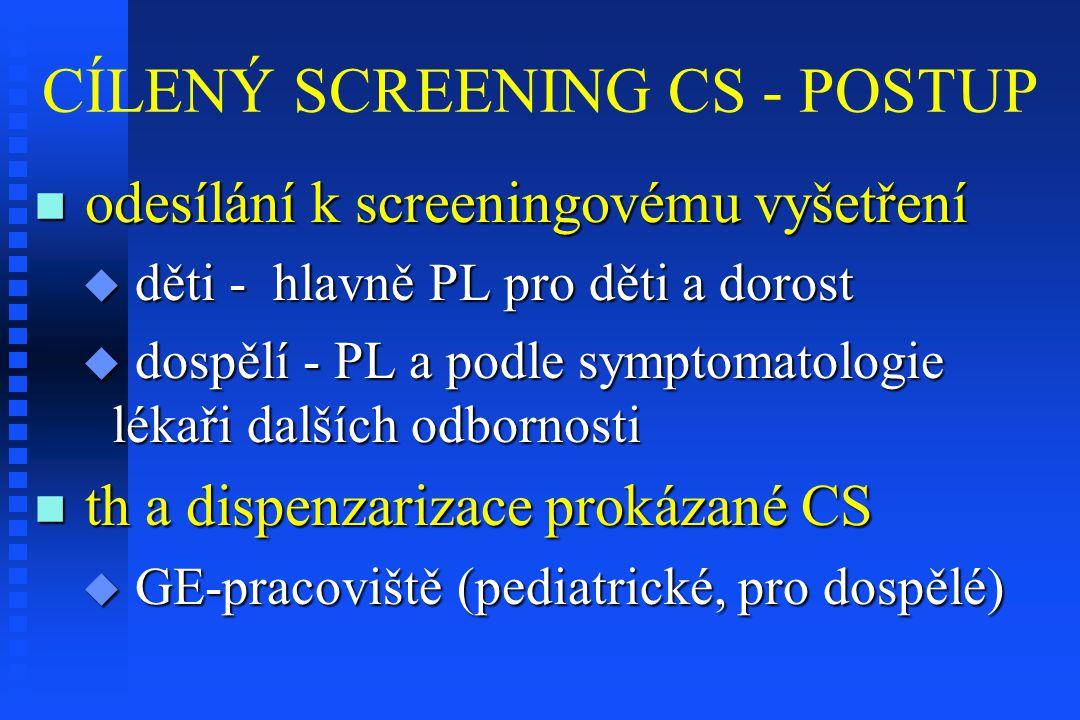 CÍLENÝ SCREENING CS - POSTUP odesílání k screeningovému vyšetření odesílání k screeningovému vyšetření  děti - hlavně PL pro děti a dorost  dospělí