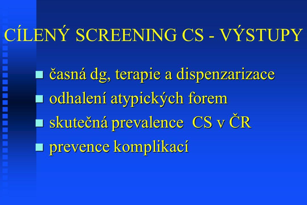 CÍLENÝ SCREENING CS - VÝSTUPY časná dg, terapie a dispenzarizace časná dg, terapie a dispenzarizace odhalení atypických forem odhalení atypických fore