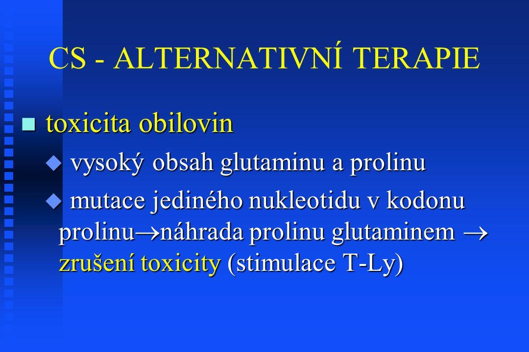 CS - ALTERNATIVNÍ TERAPIE toxicita obilovin toxicita obilovin  vysoký obsah glutaminu a prolinu  mutace jediného nukleotidu v kodonu prolinu  náhra