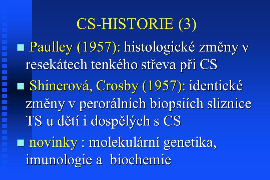 CS-HISTORIE (3) Paulley (1957): histologické změny v resekátech tenkého střeva při CS Paulley (1957): histologické změny v resekátech tenkého střeva p