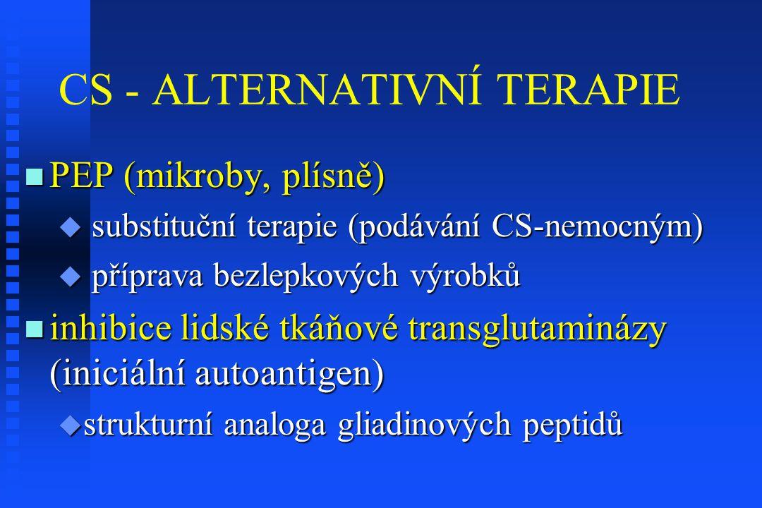 CS - ALTERNATIVNÍ TERAPIE PEP (mikroby, plísně) PEP (mikroby, plísně)  substituční terapie (podávání CS-nemocným)  příprava bezlepkových výrobků inh